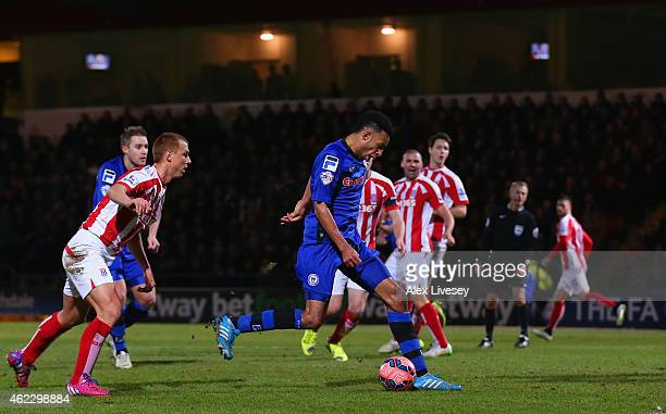 Rhys Bennett of Rochdale scores their first goal during the FA Cup fourth round match between Rochdale and Stoke City at Spotland Stadium on January...