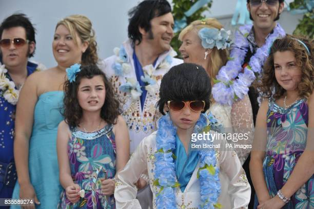 Rhys Berry aged nine who is Britain's youngest Elvis tribute artist at the wedding of Steve and Barbara Caprice after the couple's civil ceremony...