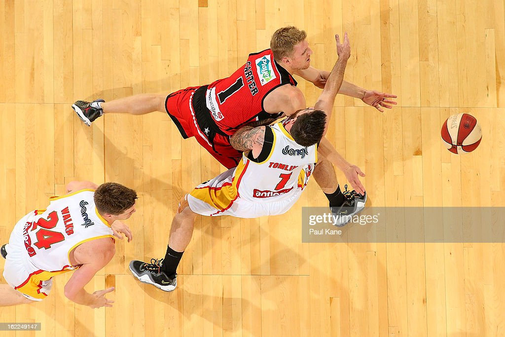 Rhys Carter of the Wildcats passes the ball against Nate Tomlinson of the Tigers during the round 20 NBL match between the Perth Wildcats and the Melbourne Tigers at Perth Arena on February 21, 2013 in Perth, Australia.