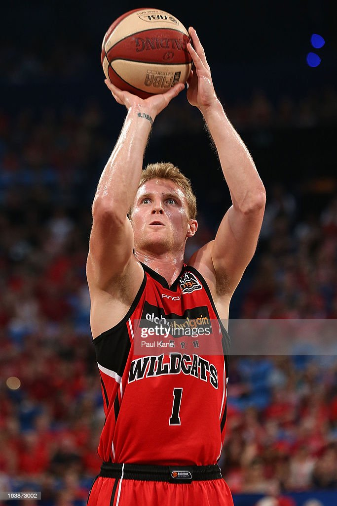 Rhys Carter of the Wildcats shoots a free throw during the round 23 NBL match between the Perth Wildcats and the Cairns Taipans at Perth Arena on March 17, 2013 in Perth, Australia.