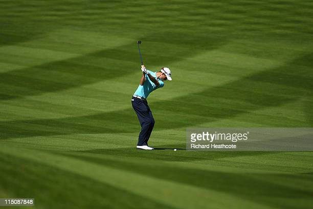 Rhys Davies of Wales plays into the 16th green during the second round of the Saab Wales Open on the Twenty Ten course at The Celtic Manor Resort on...