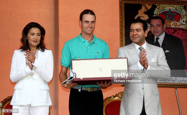 Rhys Davies of Wales recieves the trophy from His Royal Highness Prince Moulay Rachid and Her Royal Highness Princess Lalla Meryem during the final...