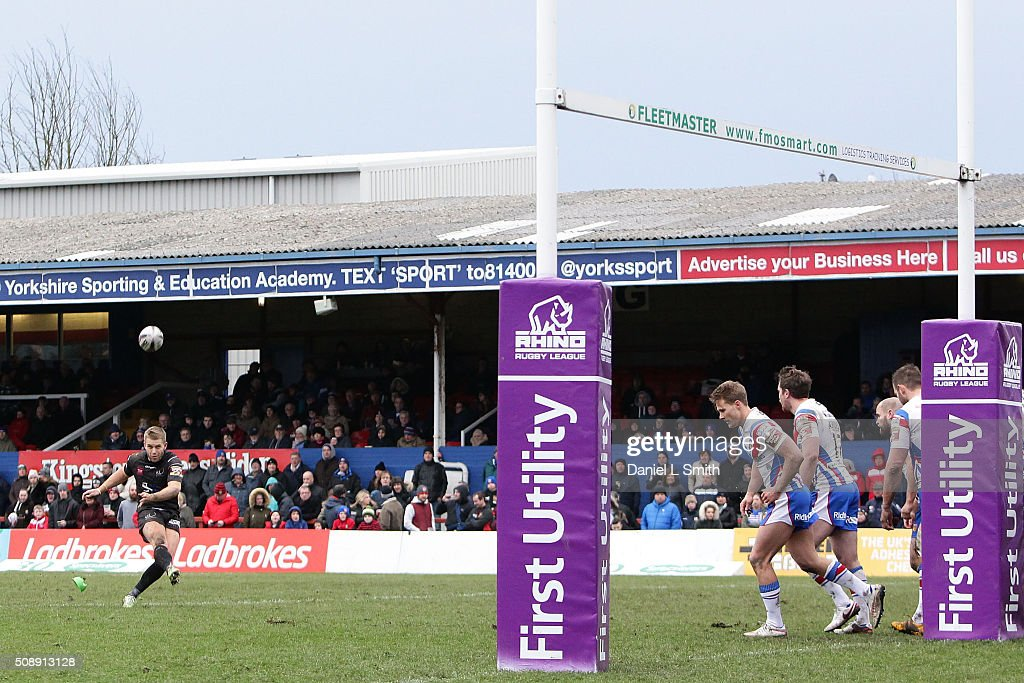 Rhys Hanbury of Widnes Vikings converts a try during the First Utility Super League Round One match between Wakefield Wildcats and Widnes Vikings at The Rapid Solicitors Stadium on February 7, 2016 in Wakefield, England.