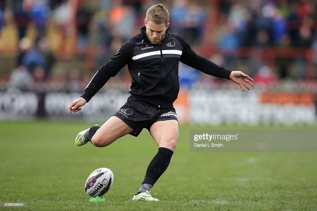 Rhys Hanbury of Widnes Vikings during warm up prior to the First Utility Super League Round One match between Wakefield Wildcats and Widnes Vikings at The Rapid Solicitors Stadium on February 7, 2016 in Wakefield, England.