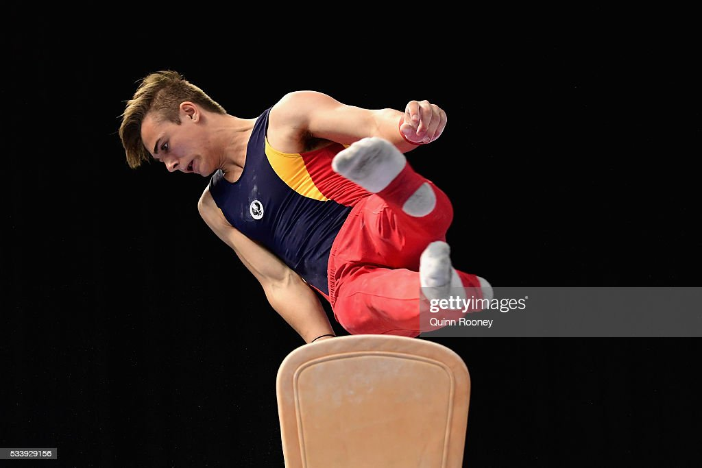 Rhys Hickman of South Australia competes on the pommel horse during the 2016 Australian Gymnastics Championships at Hisense Arena on May 23, 2016 in Melbourne, Australia.
