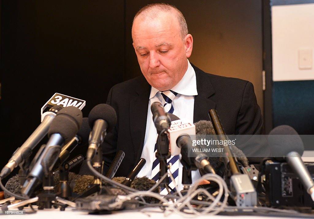 Rhys Holleran, CEO of Southern Cross Austereo, the parent company of Sydney's 2Day FM radio station, reads a statement during a press conference in Melbourne on December 8, 2012 following the news that Jacintha Saldanha, the nurse who took a call a hoax call to London's private King Edward VII hospital treating Prince William's pregnant wife Catherine, apparently killed herself according to media reports on December 7. Two Australian radio presenters, Mel Greig and Michael Christian, who made a hoax call to the hospital treating Prince William's pregnant wife Catherine have been taken off the air after the nurse who took the call apparently killed herself. AFP PHOTO/William WEST
