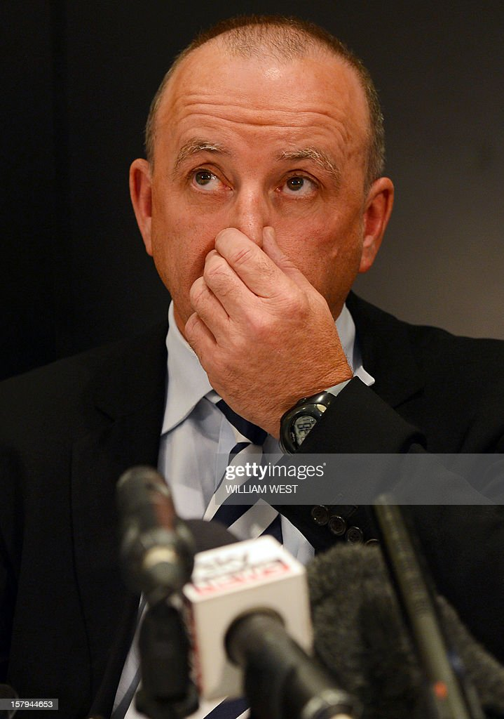 Rhys Holleran, CEO of Southern Cross Austereo, the parent company of Sydney's 2Day FM radio station, listens to a question during a press conference in Melbourne on December 8, 2012 following the news that Jacintha Saldanha, the nurse who took a call a hoax call to London's private King Edward VII hospital treating Prince William's pregnant wife Catherine, apparently killed herself according to media reports on December 7. Two Australian radio presenters, Mel Greig and Michael Christian, who made a hoax call to the hospital treating Prince William's pregnant wife Catherine have been taken off the air after the nurse who took the call apparently killed herself. AFP PHOTO/William WEST