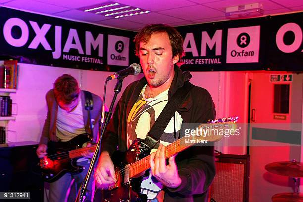 Rhys Jones and William Church of Good Shoes performs at the Oxjam music festival on October 1 2009 in London England