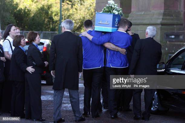 Rhys Jones' Mother watches the coffin of her son arrive at Liverpool's Anglican Cathedral for the funeral of the murdered 11yearold schoolboy The...