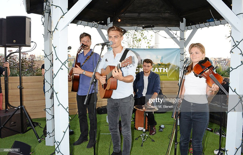 Rhys Lewis & the Relics perform at the summer launch party of the OnBlackheath Festival in partnership with John Lewis on the John Lewis Roof Gardens, Oxford Street Store, on August 6, 2014 in London, England.