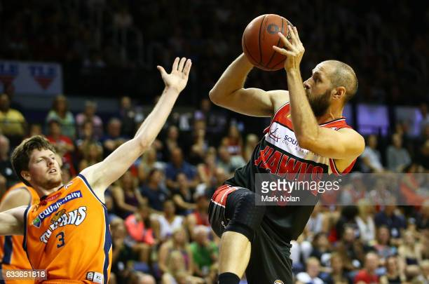Rhys Martin of the Hawks shoots for the basket during the round 18 NBL match between the Illawarra Hawks and the Cairns Taipans at the Wollongong...