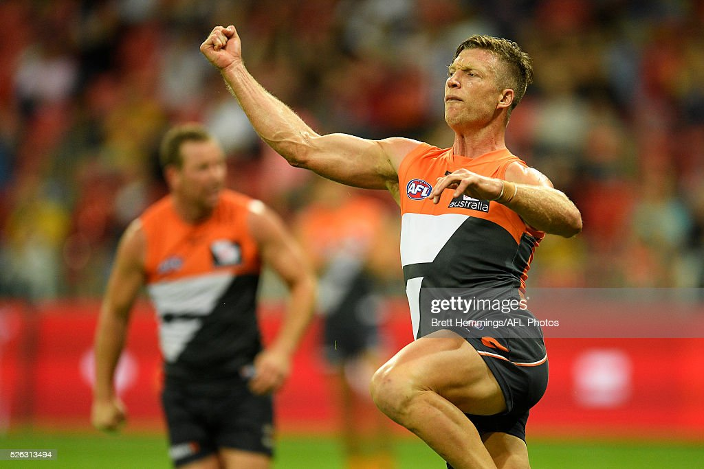 Rhys Palmer of the Giants celebrates after kicking a goal during the round six AFL match between the Greater Western Sydney Giants and the Hawthorn Hawks at Spotless Stadium on April 30, 2016 in Sydney, Australia.