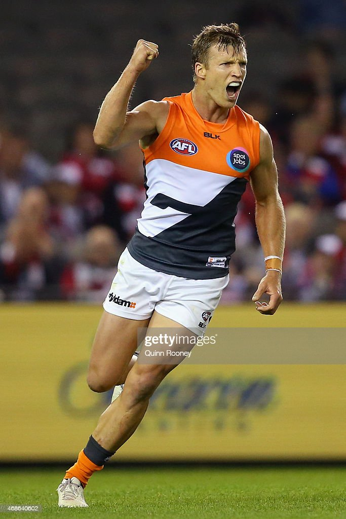 Rhys Palmer of the Giants celebrates kicking a goal during the round one AFL match between the St Kilda Saints and the Greater Western Sydney Giants...