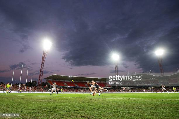 Rhys Palmer of the Giants competes for the ball against Josh Gibson of the Hawks during the round six AFL match between the Greater Western Sydney...