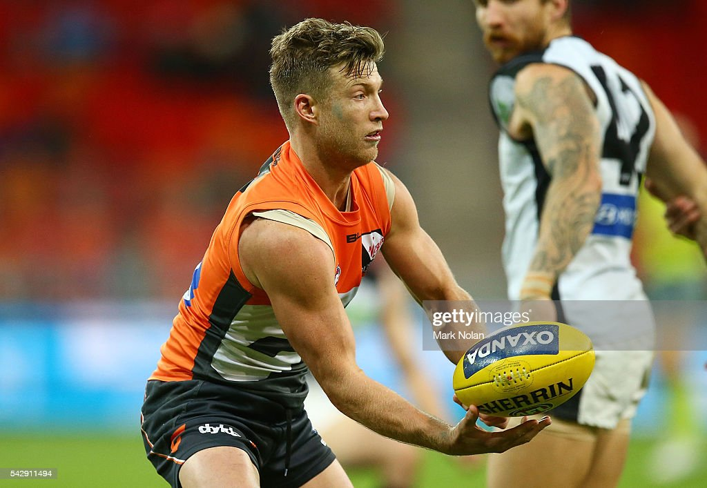 Rhys Palmer of the Giants in action during the round 14 AFL match between the Greater Western Sydney Giants and the Carlton Blues at Spotless Stadium on June 25, 2016 in Sydney, Australia.