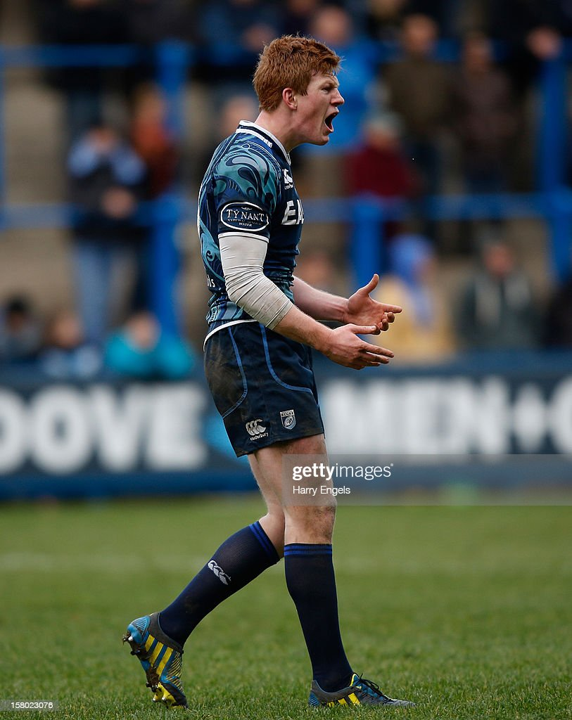 Rhys Patchell of Cardiff Blues tries to fire up his team during the Heineken Cup match between Cardiff Blues and Montpellier at Cardiff Arms Park on December 9, 2012 in Cardiff, Wales.