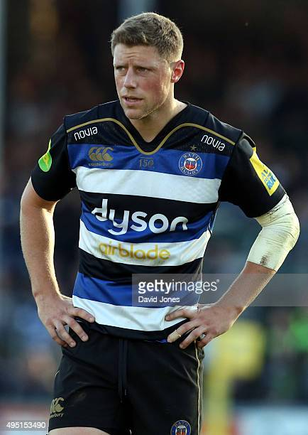 Rhys Priestland of Bath Rugby during the Aviva Premiership match between Bath Rugby and Harlequins at the Recreation Ground on October 31 2015 in...