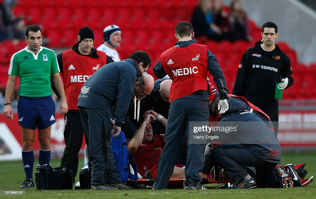 Rhys Priestland of Scarlets is taken off injured on a stretcher during the Heineken Cup match between Scarlets and Exeter Chiefs at Parc y Scarlets on December 8, 2012 in Llanelli, Wales.