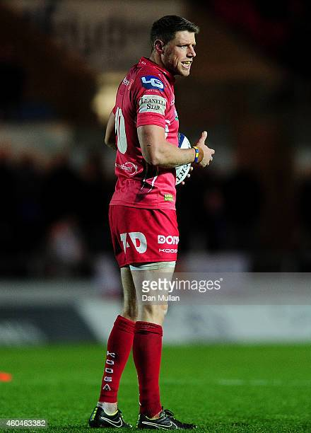 Rhys Priestland of Scarlets looks on during the European Rugby Champions Cup match between Scarlets and Ulster Rugby at Parc y Scarlets on December...