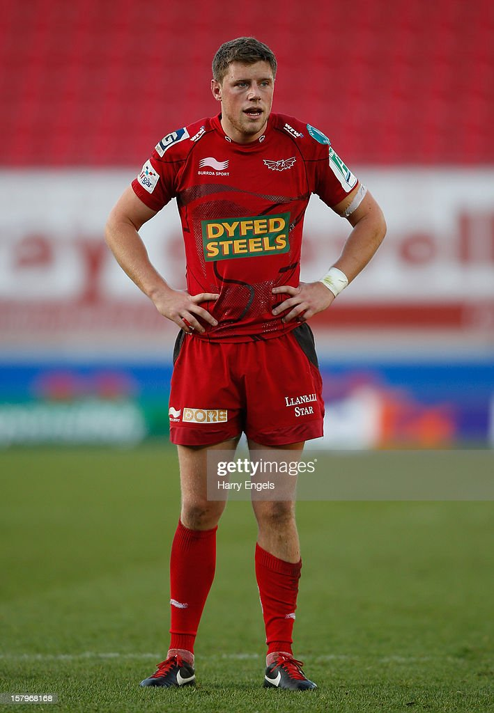 <a gi-track='captionPersonalityLinkClicked' href=/galleries/search?phrase=Rhys+Priestland&family=editorial&specificpeople=4195648 ng-click='$event.stopPropagation()'>Rhys Priestland</a> of Scarlets looks on during the Heineken Cup match between Scarlets and Exeter Chiefs at Parc y Scarlets on December 8, 2012 in Llanelli, Wales.