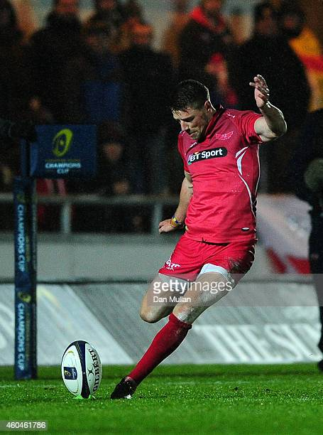 Rhys Priestland of Scarlets takes a shot at goal during the European Rugby Champions Cup match between Scarlets and Ulster Rugby at Parc y Scarlets...