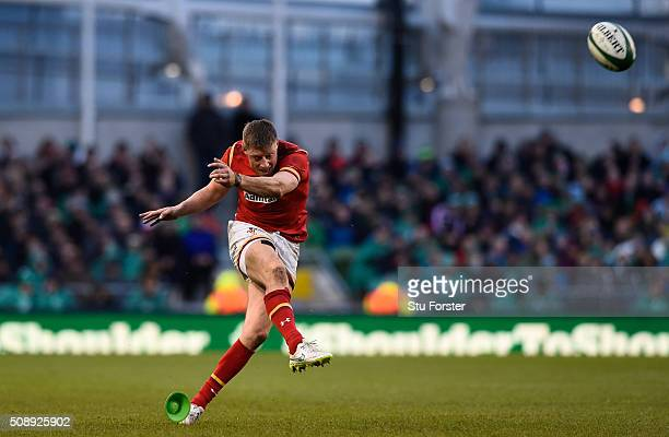 Rhys Priestland of Wales kicks a penalty during the RBS Six Nations match between Ireland and Wales at the Aviva Stadium on February 7 2016 in Dublin...