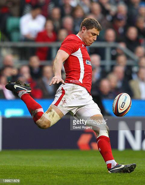 Rhys Priestland of Wales kicks during the RBS 6 Nations match between England and Wales at Twickenham Stadium on February 25 2012 in London England