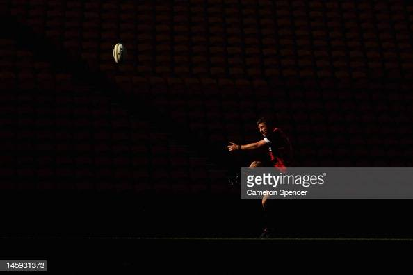 Rhys Priestland of Wales kicks for goal during the Wales rugby captain's run at Suncorp Stadium on June 8 2012 in Brisbane Australia