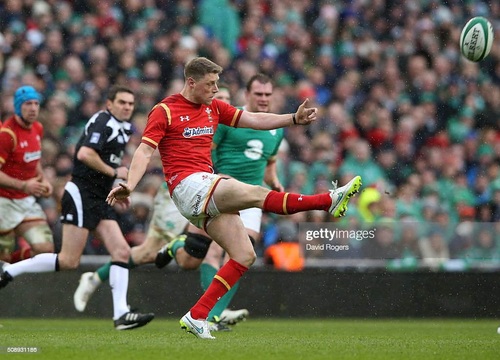 <a gi-track='captionPersonalityLinkClicked' href=/galleries/search?phrase=Rhys+Priestland&family=editorial&specificpeople=4195648 ng-click='$event.stopPropagation()'>Rhys Priestland</a> of Wales kicks the ball upfield during the RBS Six Nations match between Ireland and Wales at the Aviva Stadium on February 7, 2016 in Dublin, Ireland.