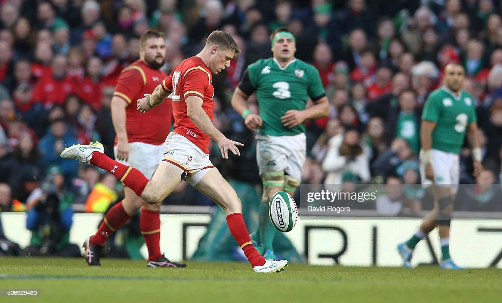 <a gi-track='captionPersonalityLinkClicked' href=/galleries/search?phrase=Rhys+Priestland&family=editorial&specificpeople=4195648 ng-click='$event.stopPropagation()'>Rhys Priestland</a> of Wales misses with a late drop goal attempt during the RBS Six Nations match between Ireland and Wales at the Aviva Stadium on February 7, 2016 in Dublin, Ireland.