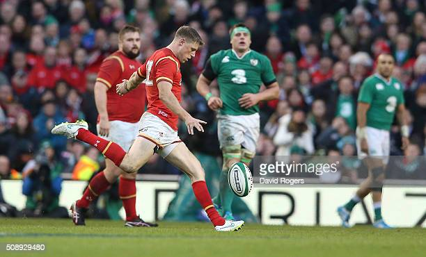 Rhys Priestland of Wales misses with a late drop goal attempt during the RBS Six Nations match between Ireland and Wales at the Aviva Stadium on...