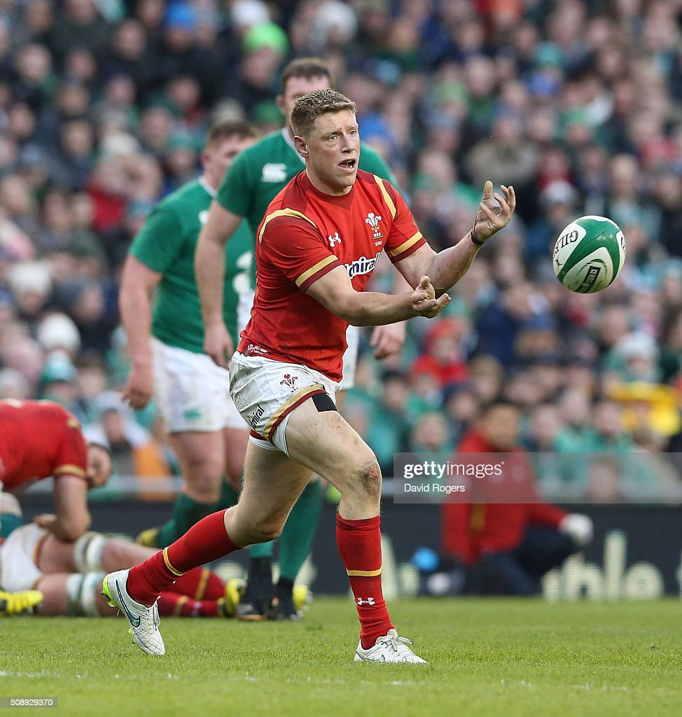 Rhys Priestland of Wales passes the ball during the RBS Six Nations match between Ireland and Wales at the Aviva Stadium on February 7, 2016 in Dublin, Ireland.