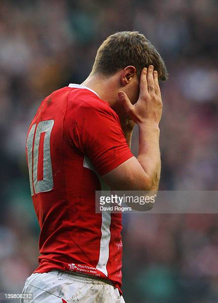 Rhys Priestland of Wales reacts during the RBS 6 Nations match between England and Wales at Twickenham Stadium on February 25 2012 in London England