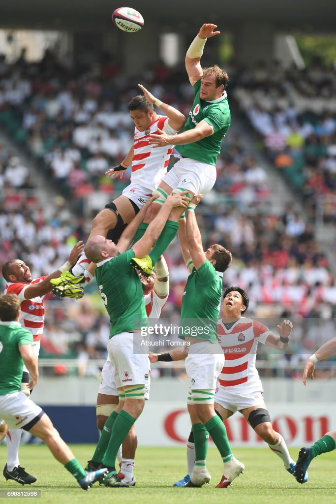 Rhys Ruddock of Ireland reaches for the lineout ball during the international rugby friendly match between Japan and Ireland at Shizuoka Stadium on June 17, 2017 in Fukuroi, Japan.
