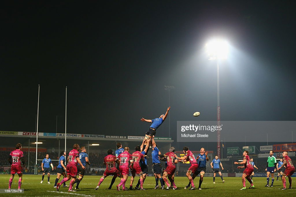 Rhys Ruddock of Leinster rises highest at a lineout during the Heineken Cup Pool Five match between Exeter Chiefs and Leinster at Sandy Park on January 19, 2013 in Exeter, England.