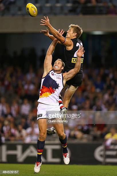 Rhys Stanley of the Saints marks over the top of Ben Rutten of the Crows during the round four AFL match between the St Kilda Saints and the Adelaide...