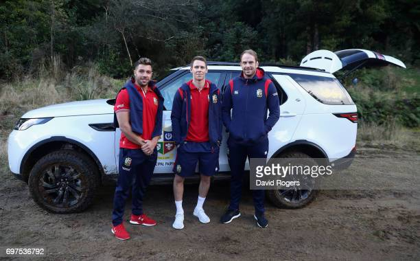 Rhys Webb Liam Williams and Alun Wyn Jones pose during the British Irish Lions Land Rover Off Road Driving Experience on June 16 2017 in Rotorua New...