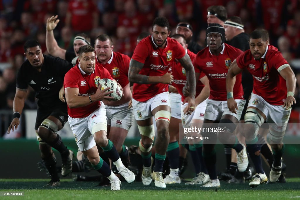 Rhys Webb of the Lions makes a break during the third test match between the New Zealand All Blacks and the British & Irish Lions at Eden Park on July 8, 2017 in Auckland, New Zealand.