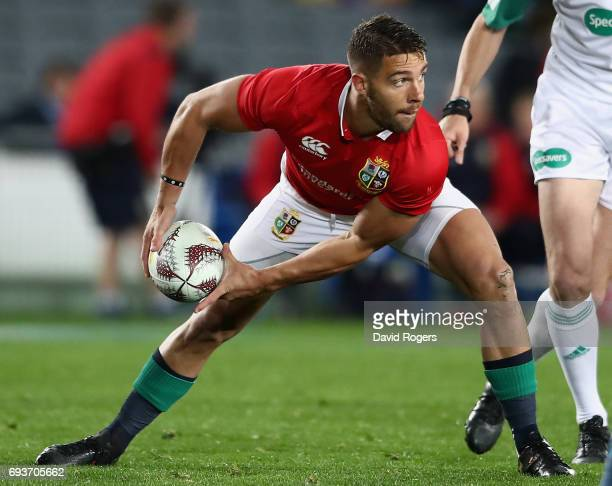 Rhys Webb of the Lions passes the ball during the match between the Auckland Blues and the British Irish Lions at Eden Park on June 7 2017 in...