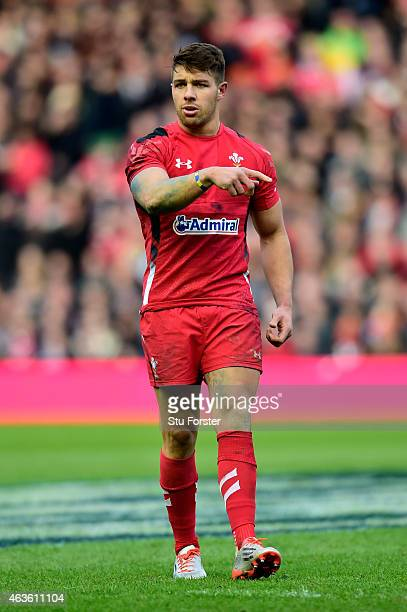 Rhys Webb of Wales gestures during the RBS Six Nations match between Scotland and Wales at Murrayfield Stadium on February 15 2015 in Edinburgh...