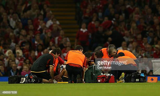 Rhys Webb of Wales receives medical attention after suffering a leg injury during the International Match between Wales and Italy at Millennium...