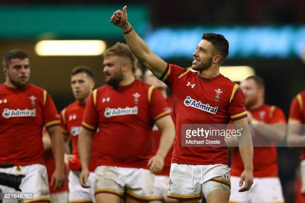 Rhys Webb of Wales salutes the crowd after the Six Nations match between Wales and Ireland at the Principality Stadium on March 10 2017 in Cardiff...