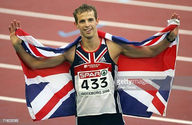 Rhys Williams of Great Britain celebrates as he wins bronze during the Men's 400 Metres Hurdles Final on day four of the 19th European Athletics...
