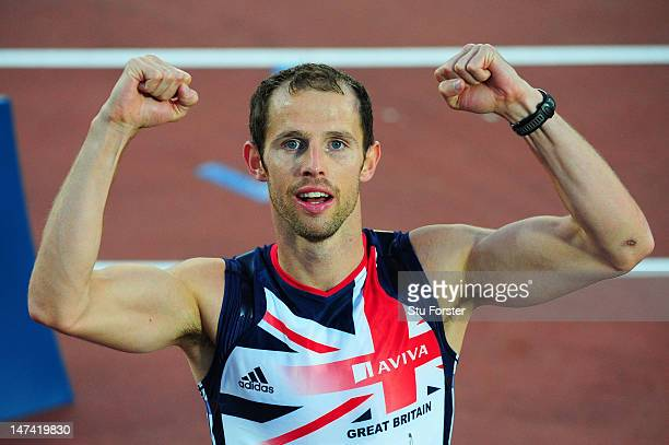 Rhys Williams of Great Britain celebrates winning gold in the Men's 400 Metres Hurdles Final during day three of the 21st European Athletics...