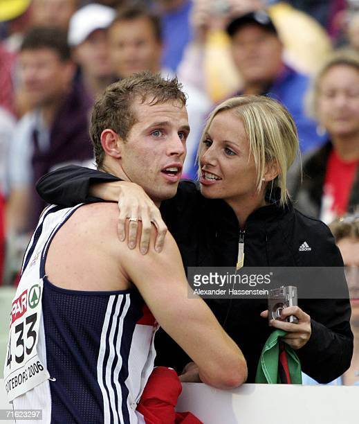 Rhys Williams of Great Britain celebrates with his sister Kathy as he wins bronze during the Men's 400 Metres Hurdles Final on day four of the 19th...