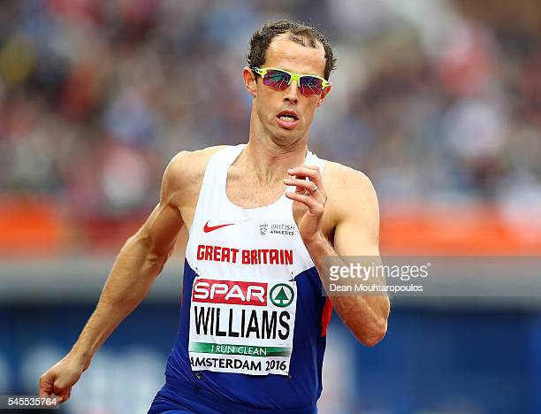 Rhys Williams of Great Britain in action during the final of the mens 400m hurdles on day three of The 23rd European Athletics Championships at...