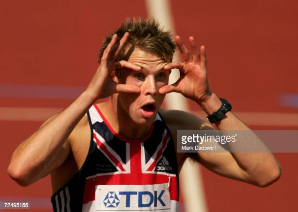 Rhys Williams of Great Britain reacts before the heats of the men's 400 Metres Hurdles at the 10th IAAF World Athletics Championships on August 6...
