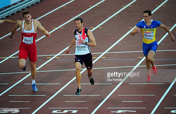 Rhys Williams of Great Britain wins gold ahead of Emir Bekric of Serbia in the Men's 400 Metres Hurdles Final during day three of the 21st European...