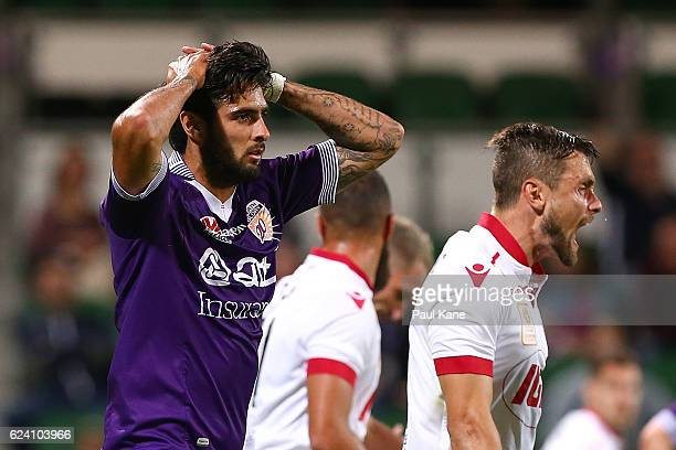 Rhys Williams of the Glory looks on after missing a shot on goal during the round seven ALeague match between the Perth Glory and Adelaide United at...