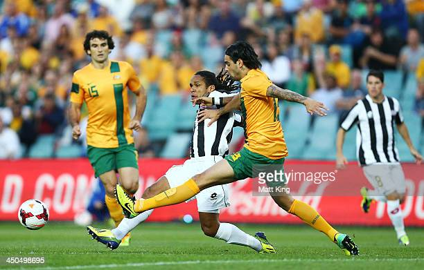 Rhys Williams of the Socceroos competes with Jonathan McDonald of Costa Rica during the international friendly match between the Australian Socceroos...